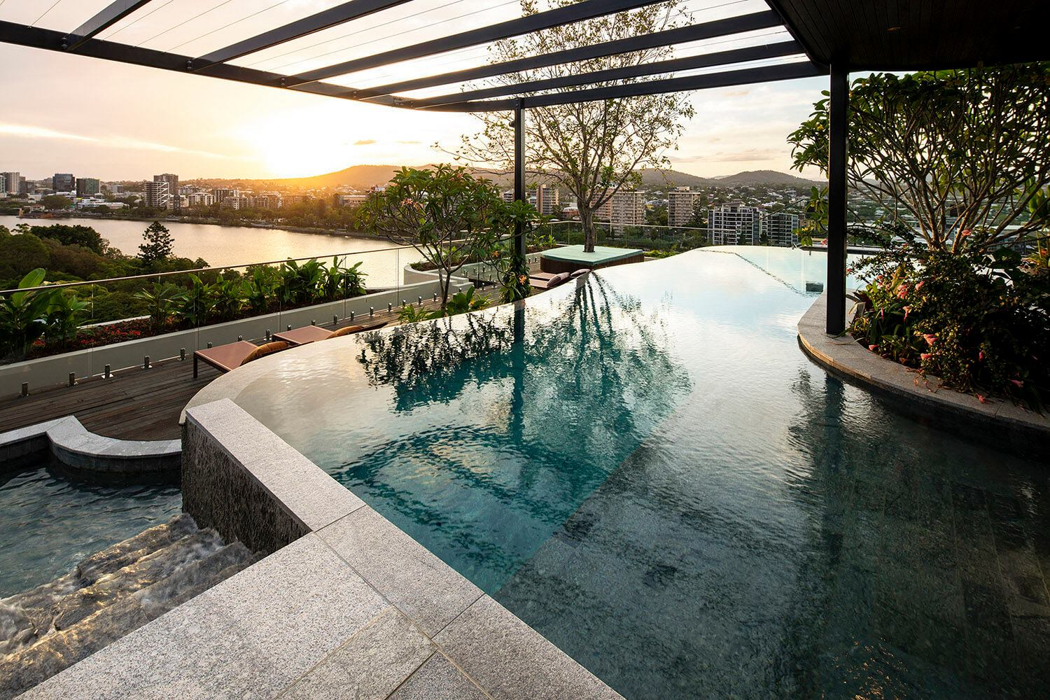 outdoor pool on balcony with river view